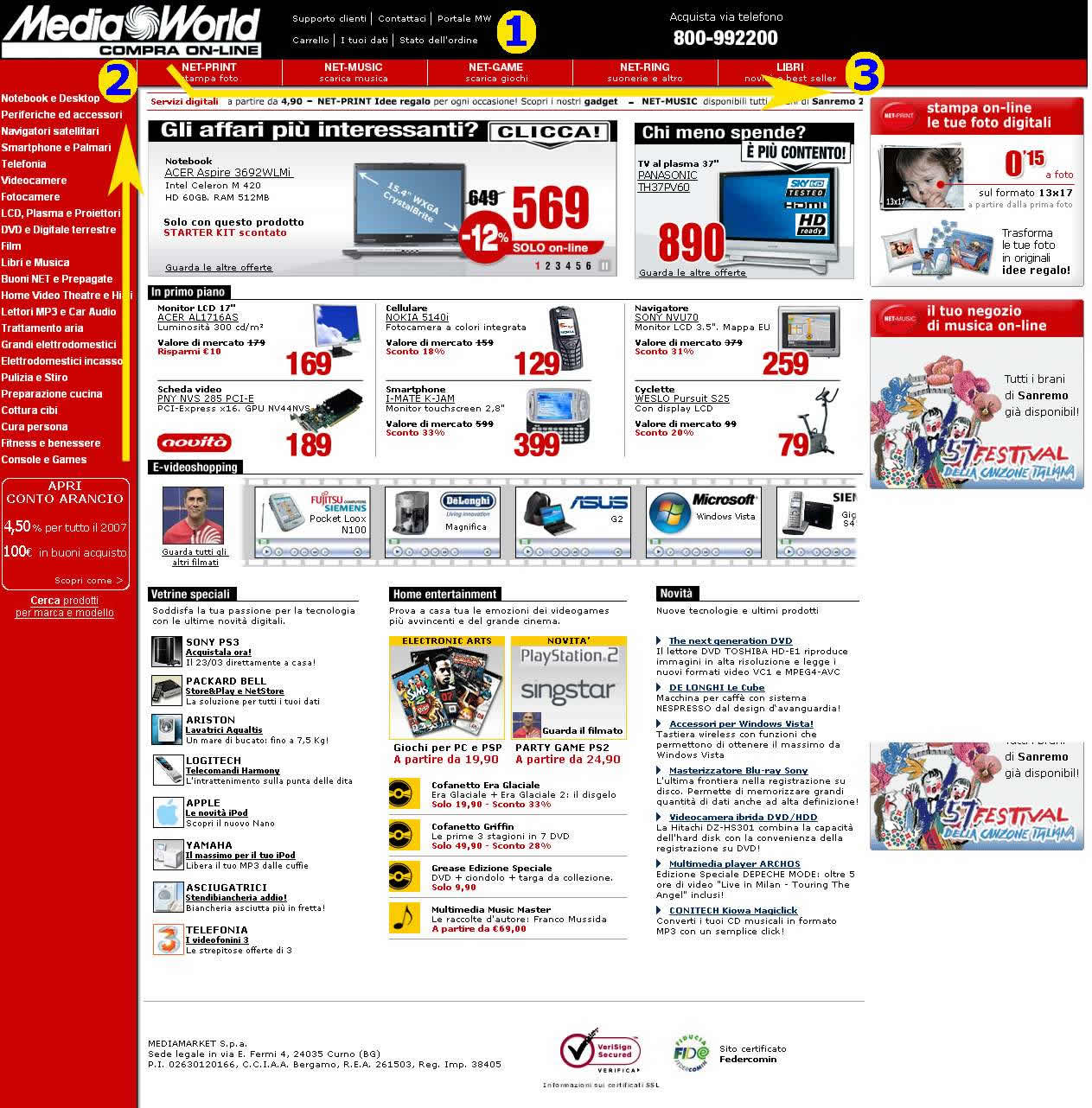 La home page di Mediaworld