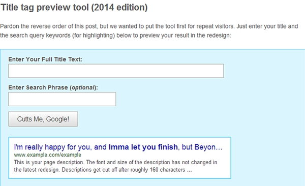 title tag preview tool 2014