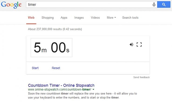 timer sulla serp di google