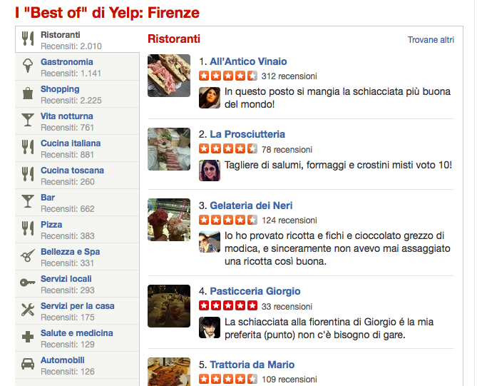 categorie merceologiche su Yelp
