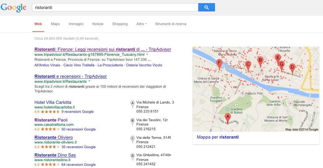 schermata di risultati localizzati