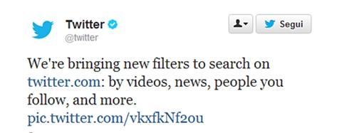 tweet nuovi filtri di ricerca