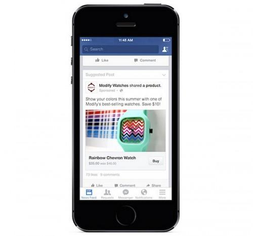 facebook testa il pulsante compra
