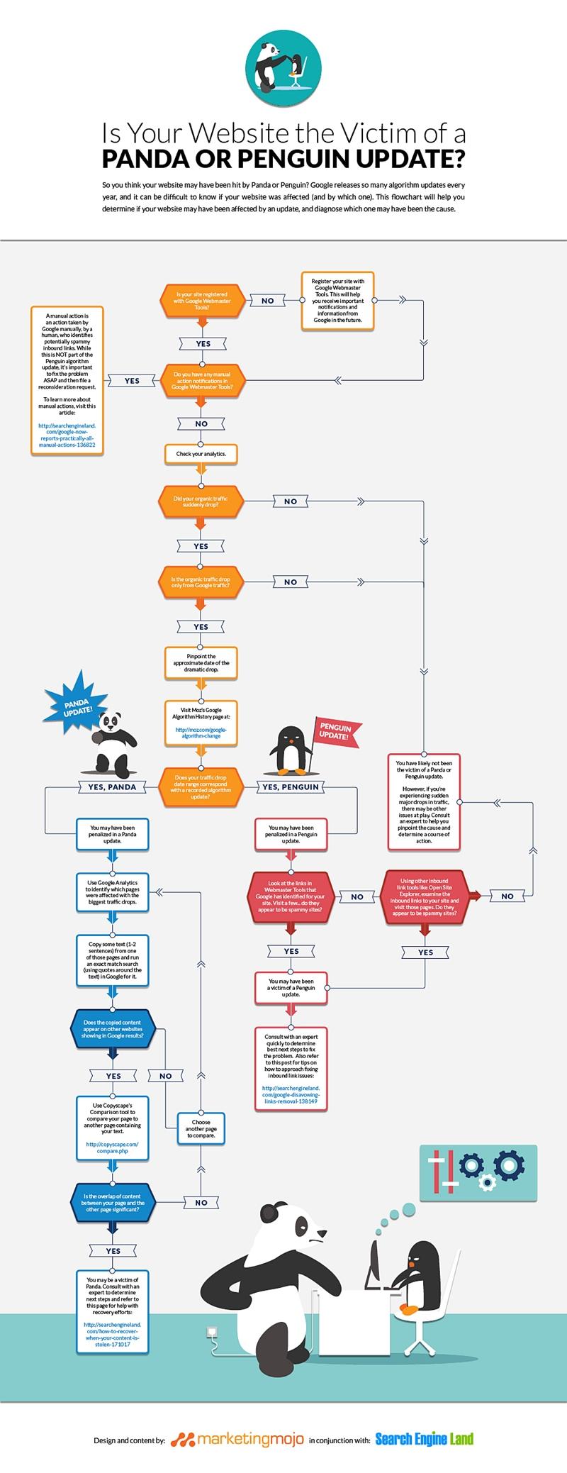 Un'infografica ti aiuta a capire se il tuo sito web è stato colpito da Panda o da Penguin dopo gli ultimi update