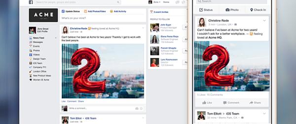 Facebook at work lancio 2015