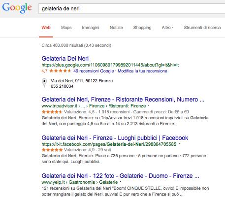 Screenshot gelateria de neri sulla serp di google
