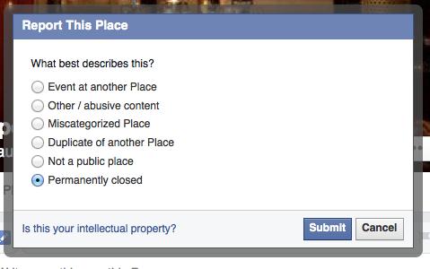Segnalazione di chiusura attività su Facebook
